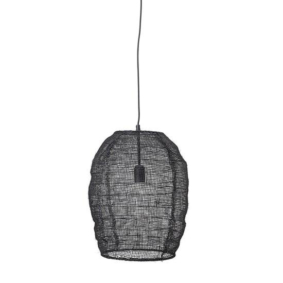 Lustr z juty V.46 cm, černý kabel_1