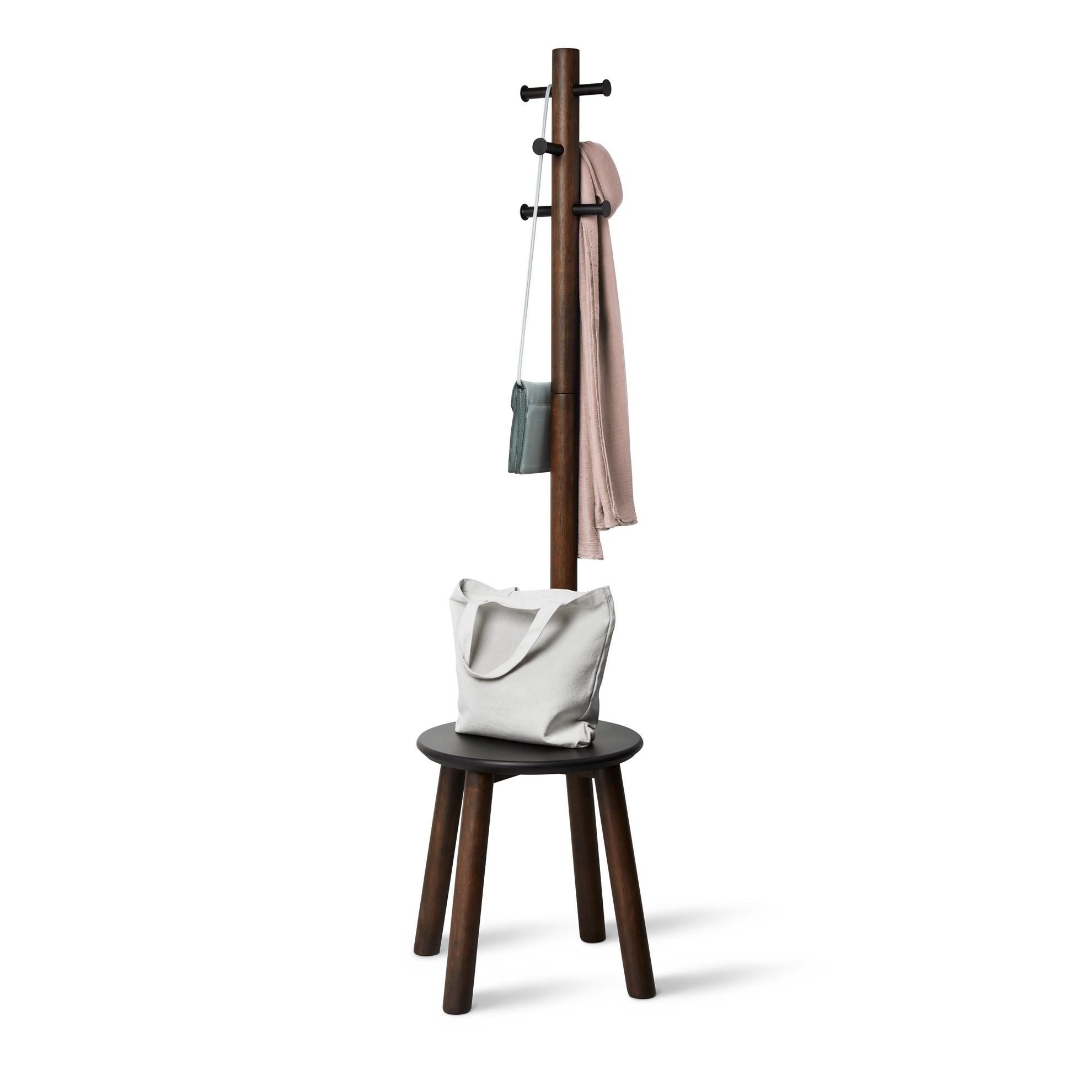 Věšák se stoličkou PILLAR 167x50 cm tm.hnědý_0