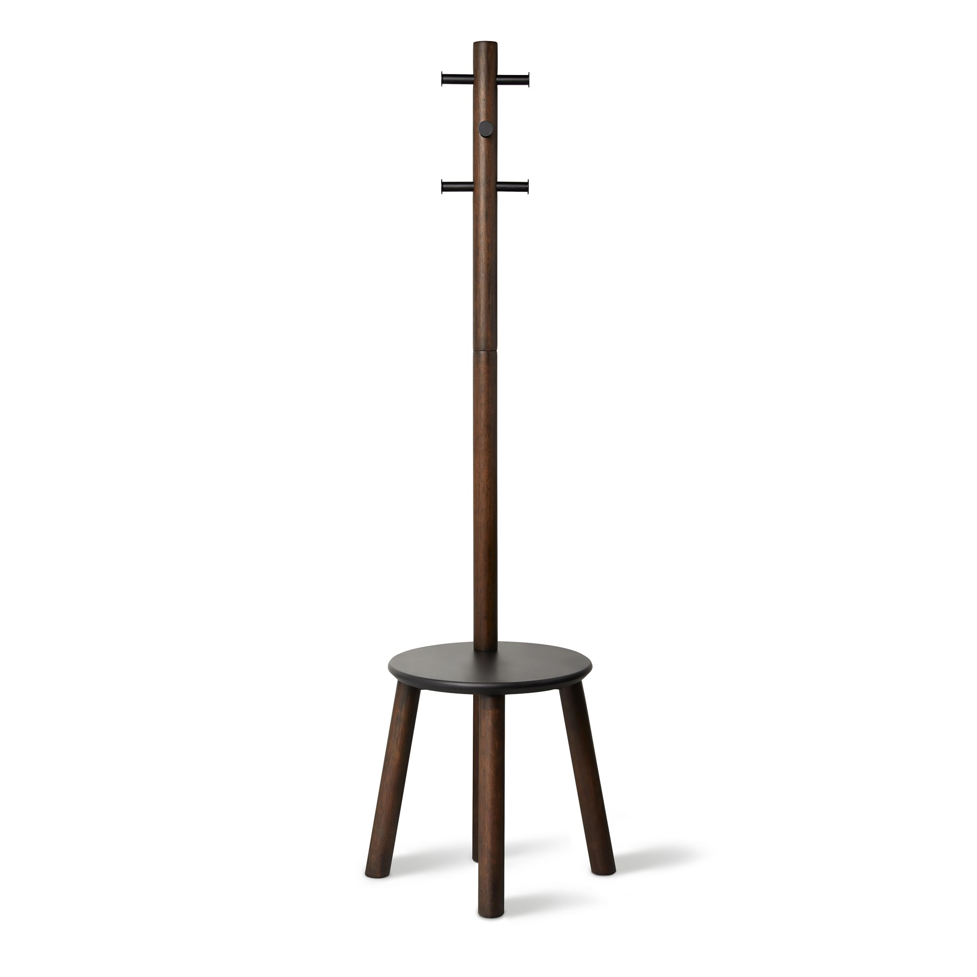 Věšák se stoličkou PILLAR 167x50 cm tm.hnědý_1