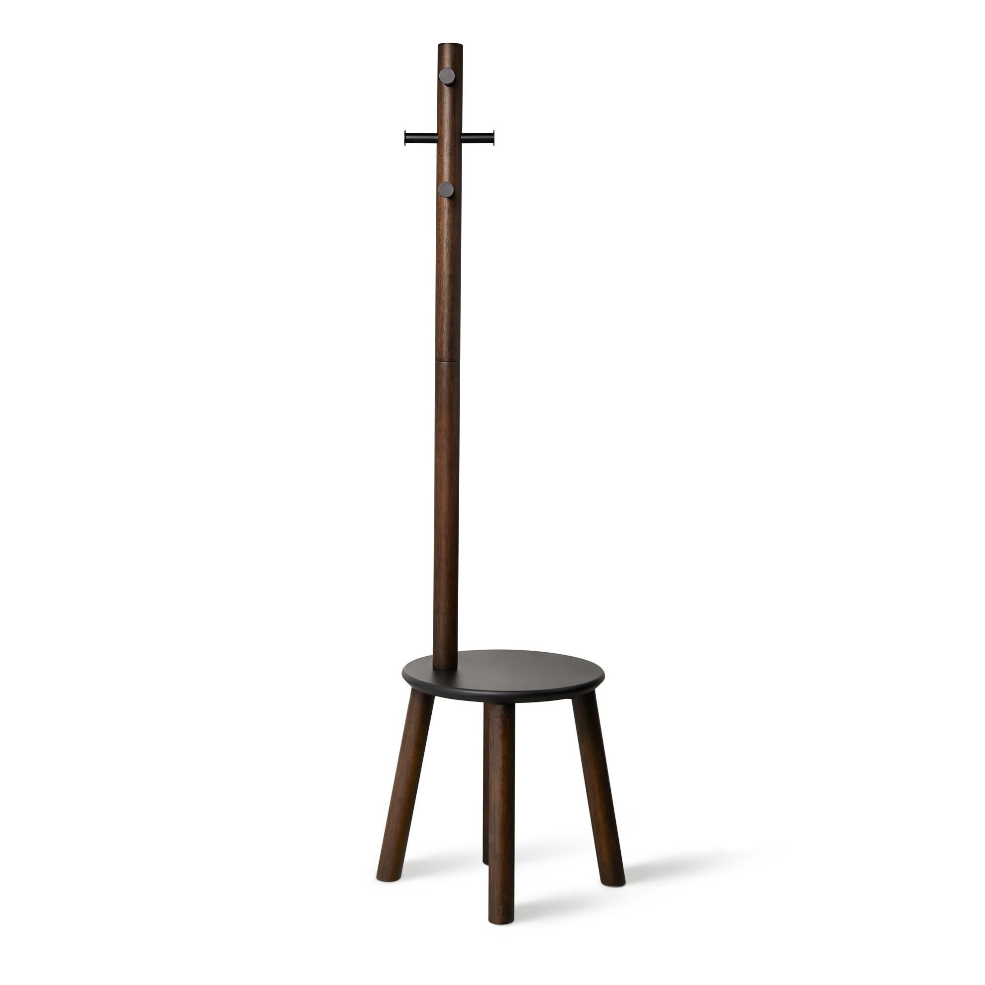 Věšák se stoličkou PILLAR 167x50 cm tm.hnědý_2