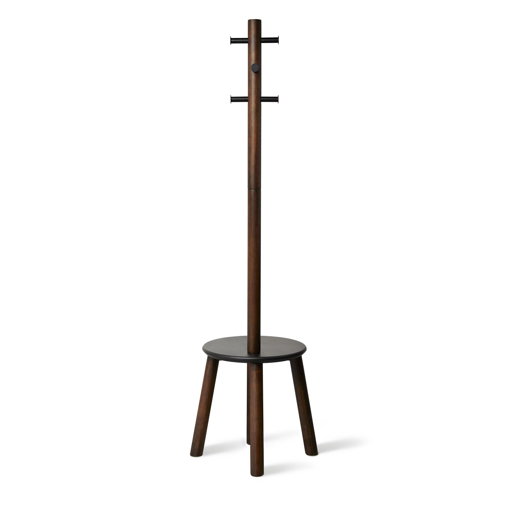 Věšák se stoličkou PILLAR 167x50 cm tm.hnědý_3
