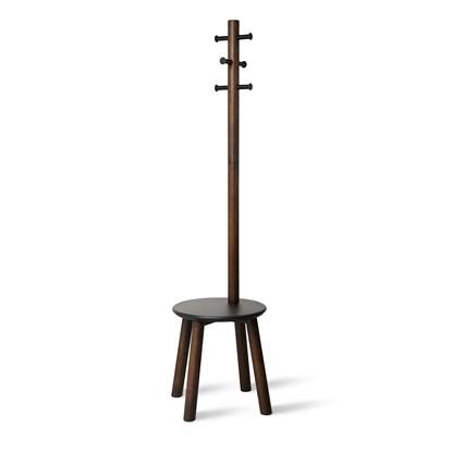 Věšák se stoličkou PILLAR 167x50 cm tm.hnědý_6