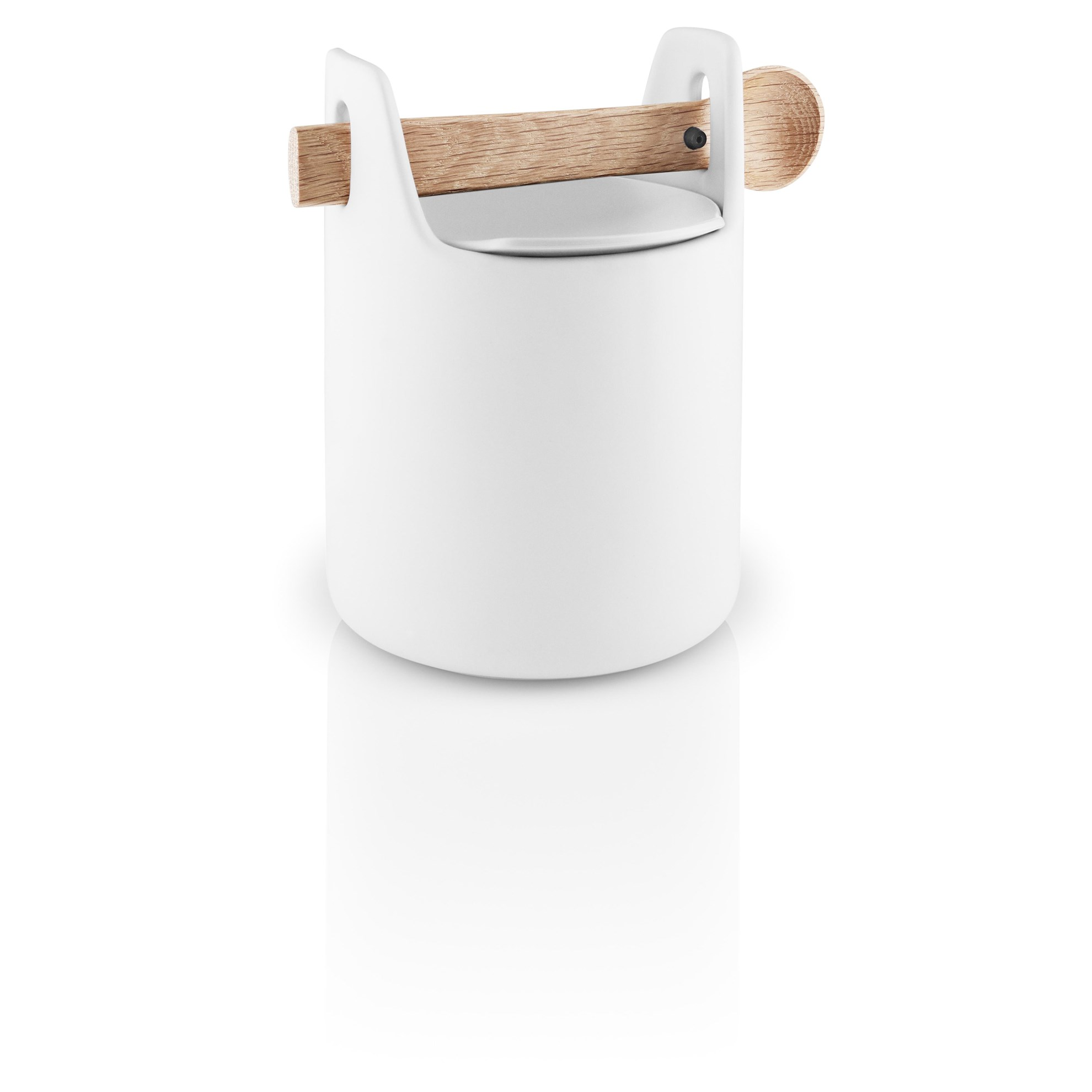 Dóza s dřevěnou lžičkou TOOLBOX, bílá - 15 cm_0