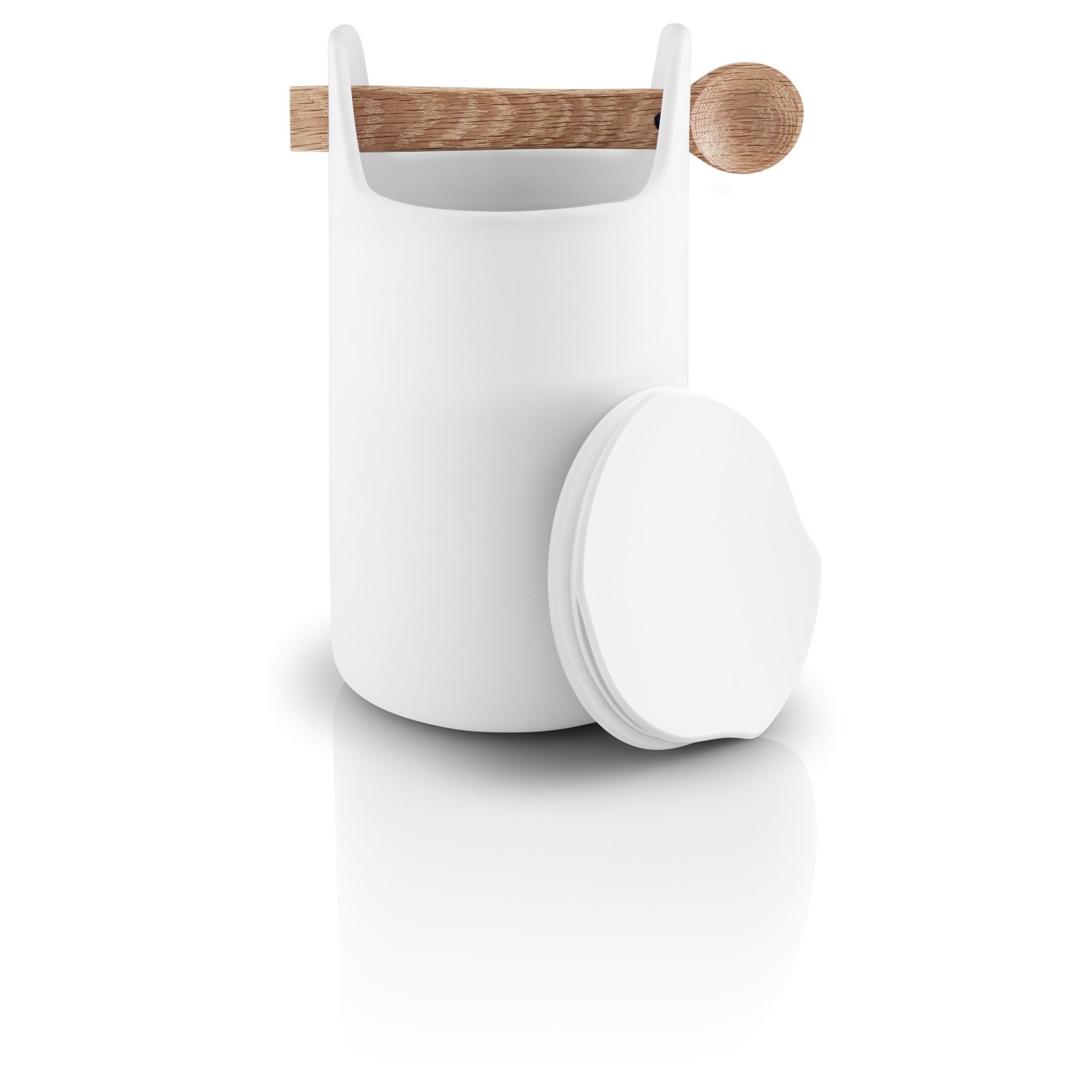 Dóza s dřevěnou lžičkou TOOLBOX, bílá - 20 cm_0
