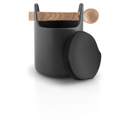 Dóza s dřevěnou lžičkou TOOLBOX, černá - 15 cm_0