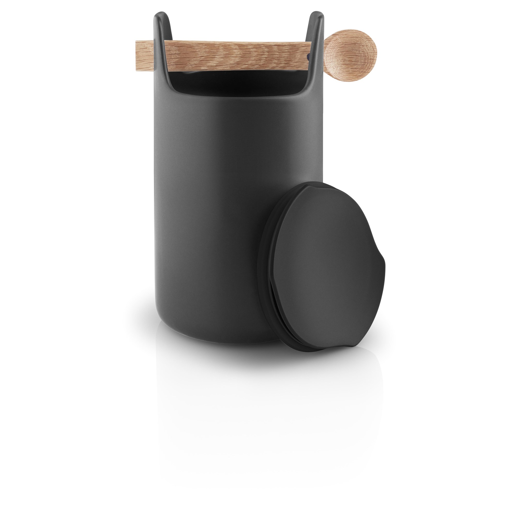 Dóza s dřevěnou lžičkou TOOLBOX, černá - 20 cm_0