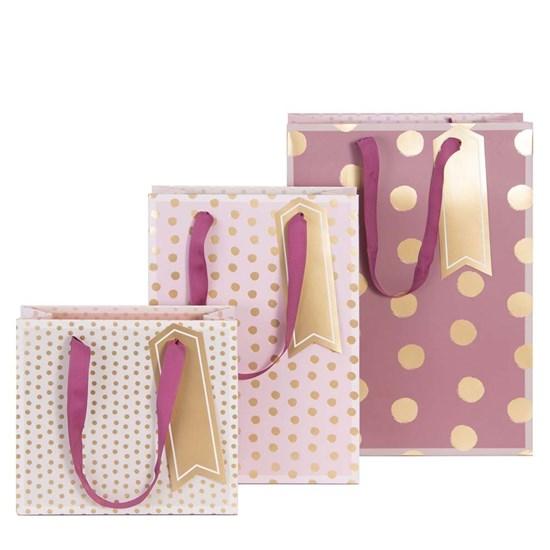 Kvalitní dárkové tašky SET/3 vel. Dots rosé_0