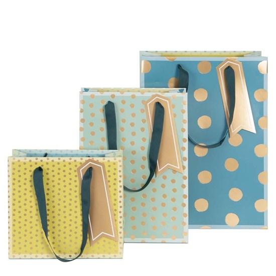 Kvalitní dárkové tašky SET/3 vel. Dots blau grün_0