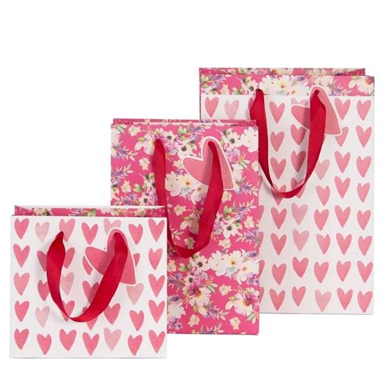 Kvalitní dárkové tašky SET/3 vel. Herzen Blüten_0
