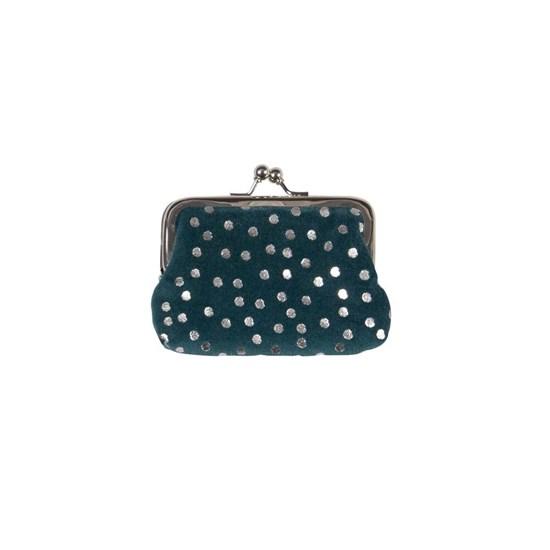 Sametová peněženka na drobné 11x8 cm Dots petrol_0