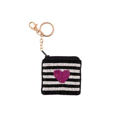 Přívěsek na klíče taštička s perličkami 8x8 cm_0
