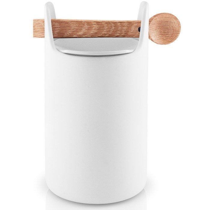 Obrázek z Dóza s dřevěnou lžičkou TOOLBOX, bílá - 20 cm