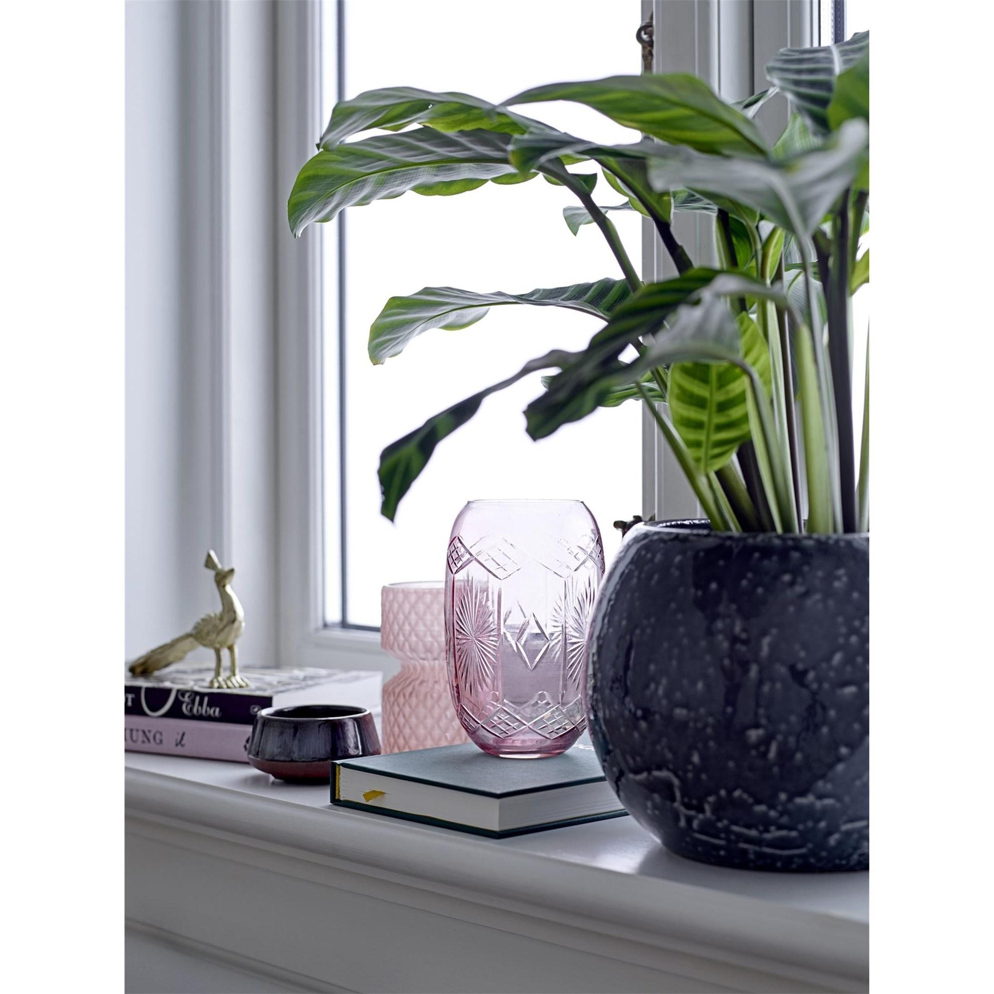 Kameninový květináč tmavě šedý, P.23 cm_0