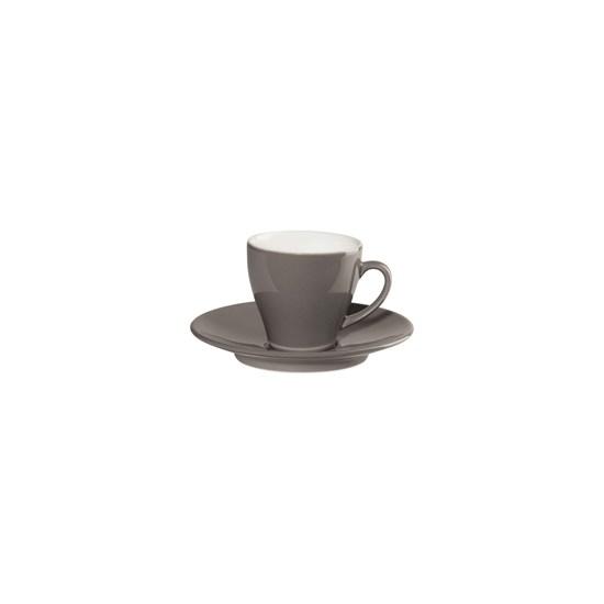 Šálek na espresso s podšálkem CAFFÉ TI AMO 0,1 l, šedohnědý_0