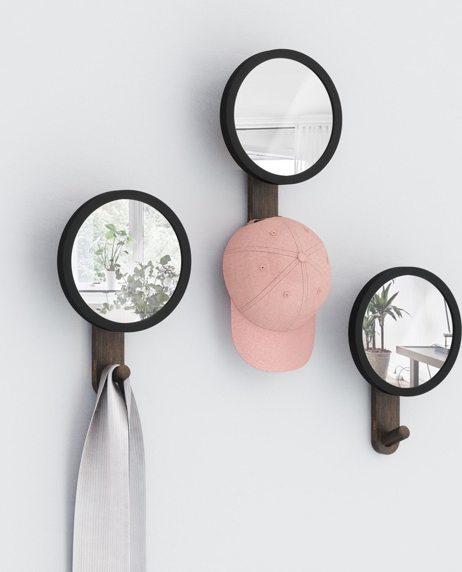 Obrázek z Menší zrcadlo HUB s háčkem černé