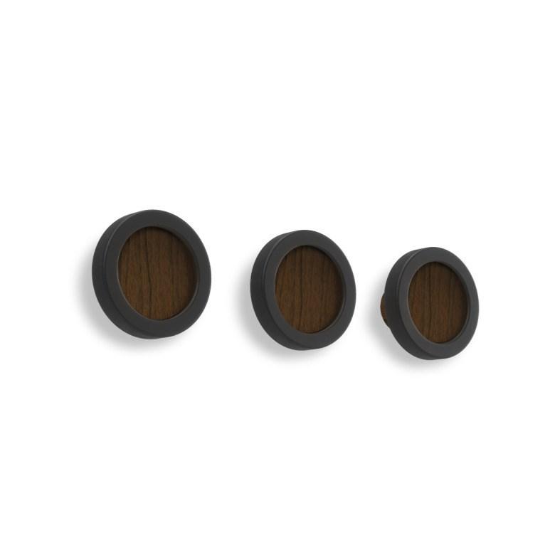 Obrázek z Set 3 háčků na stěnu HUB černá/tm.hnědá