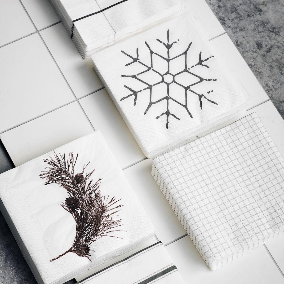 Ubrousky SNOWFLAKE černá SET/40 ks_3