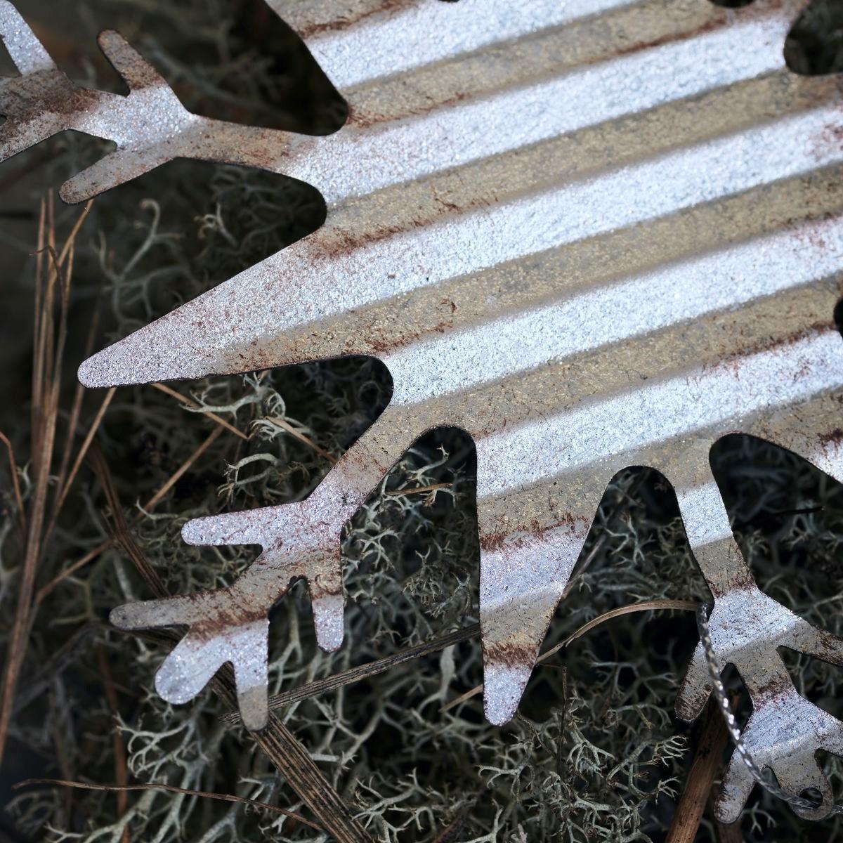 Dekorace plech. vločka ICE SNOWFLAKE stříbrná_2
