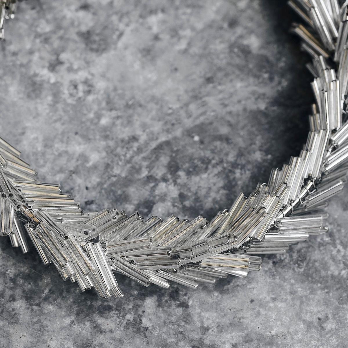 Věnec ze skleněných korálků CIRCLE P.10 cm stříbrný_2