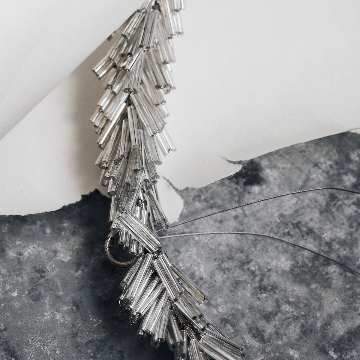 Věnec ze skleněných korálků CIRCLE P.20 cm stříbrný_2