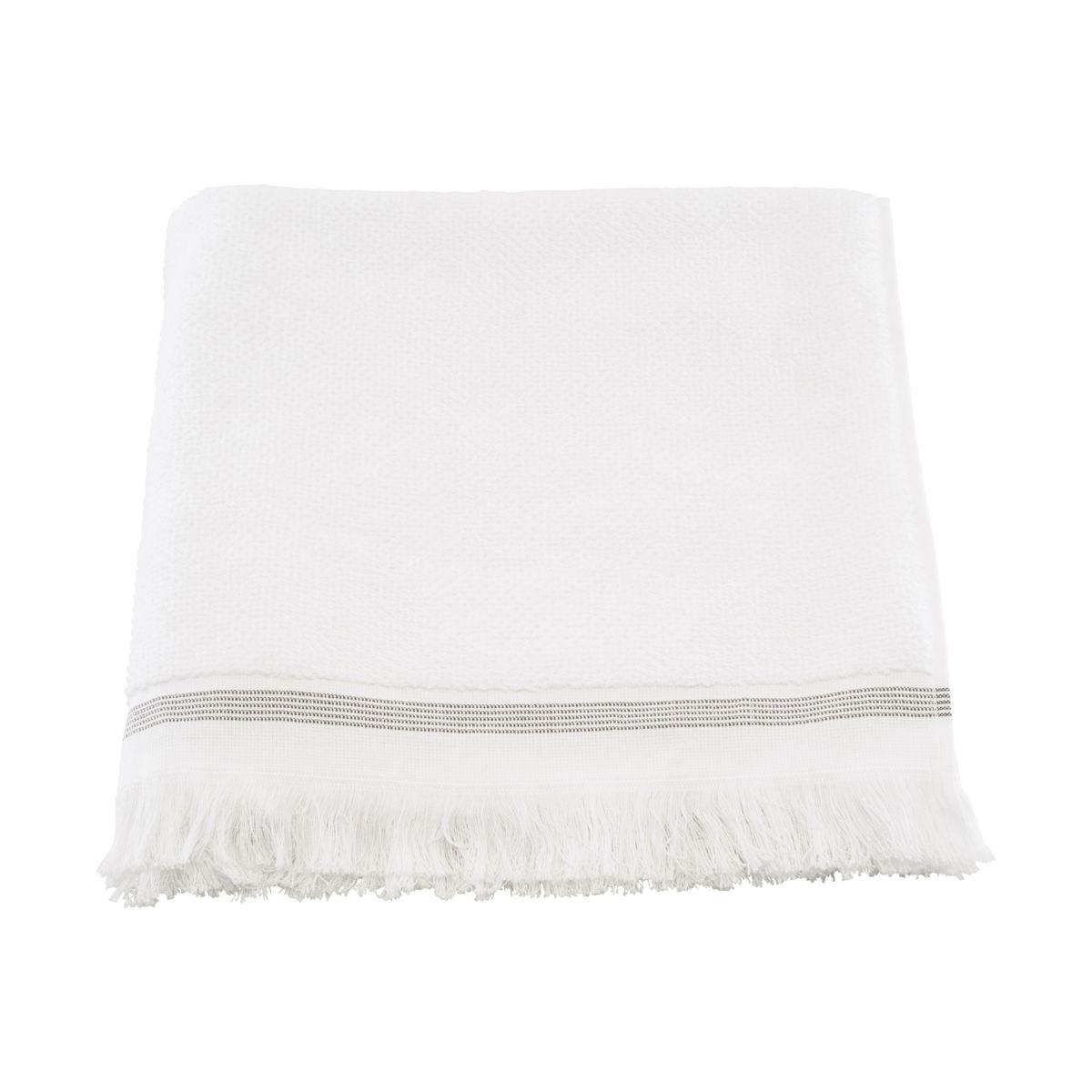 Ručník 70x140 cm bílý s šedými proužky_1