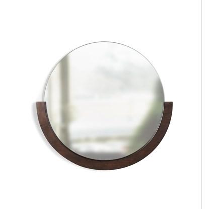 Zrcadlo MIRA s dřevěným rámem v ořechovém odstínu_0