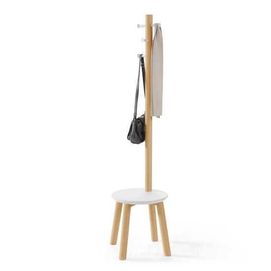 Věšák se stoličkou PILLAR 167x50 cm bílá/přírodní_0