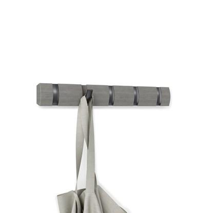 Věšák na zeď FLIP 5 háčků šedý/háčky cínový odstín_0