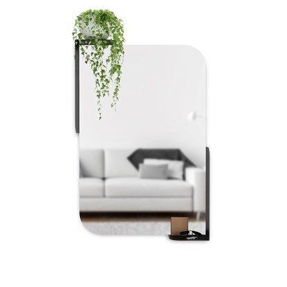 Zrcadlo s odkládacími plochami ALCOVE 76 cm černé_0
