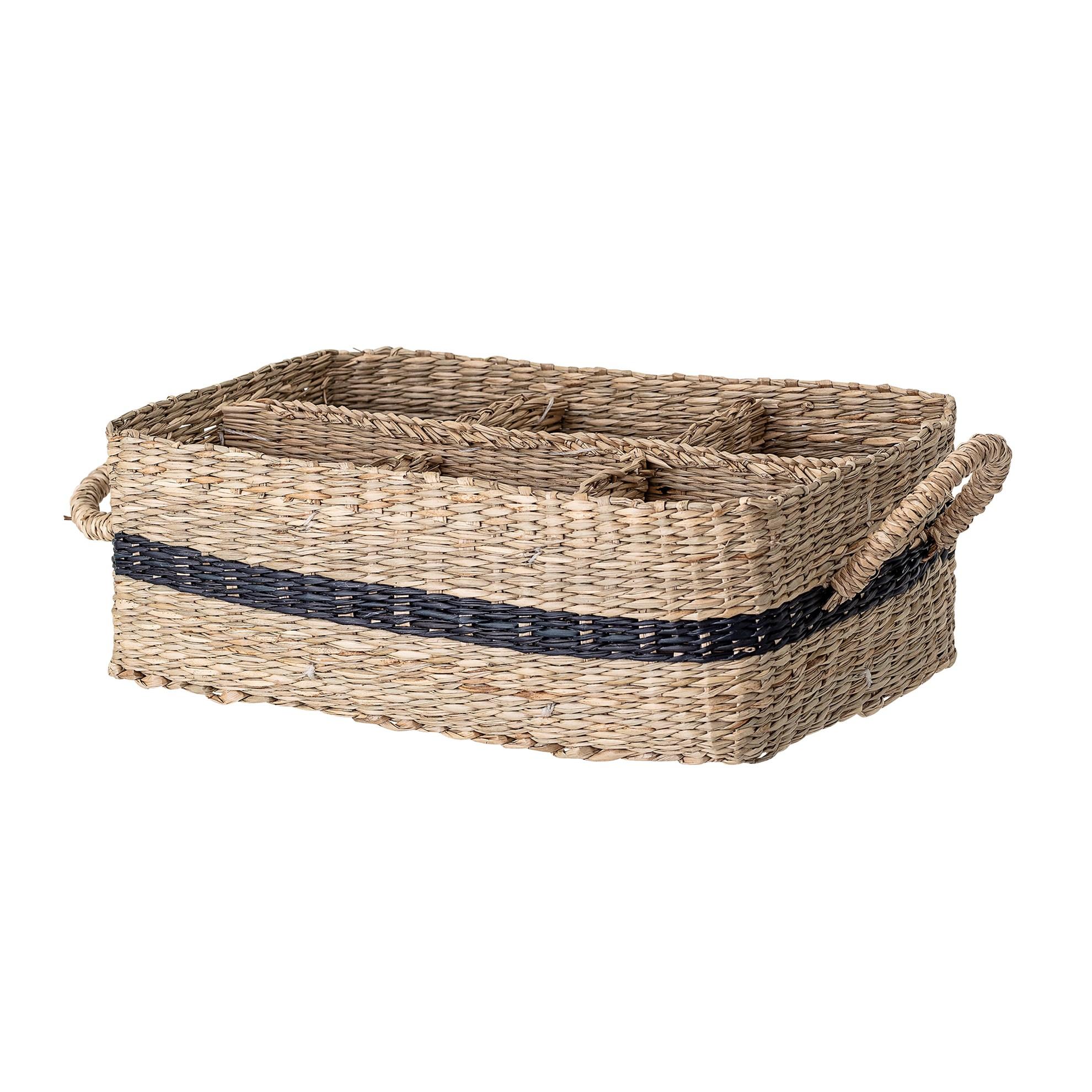 Košík s uchy s vnitřním členěním z mořské trávy 25x17 cm_0
