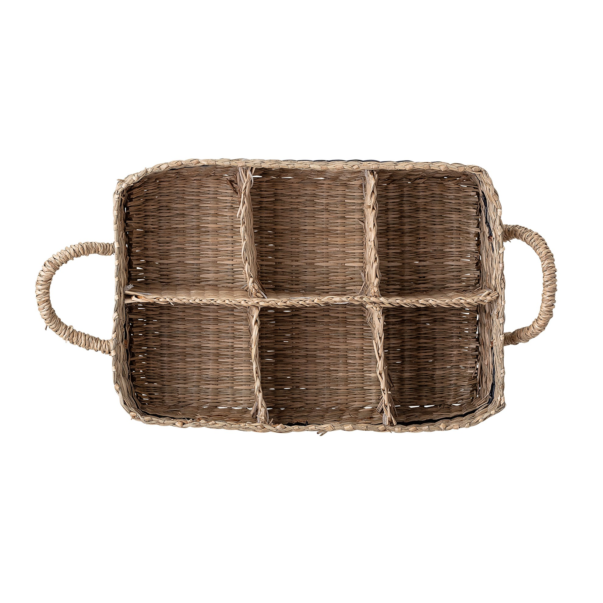 Košík s uchy s vnitřním členěním z mořské trávy 25x17 cm_1