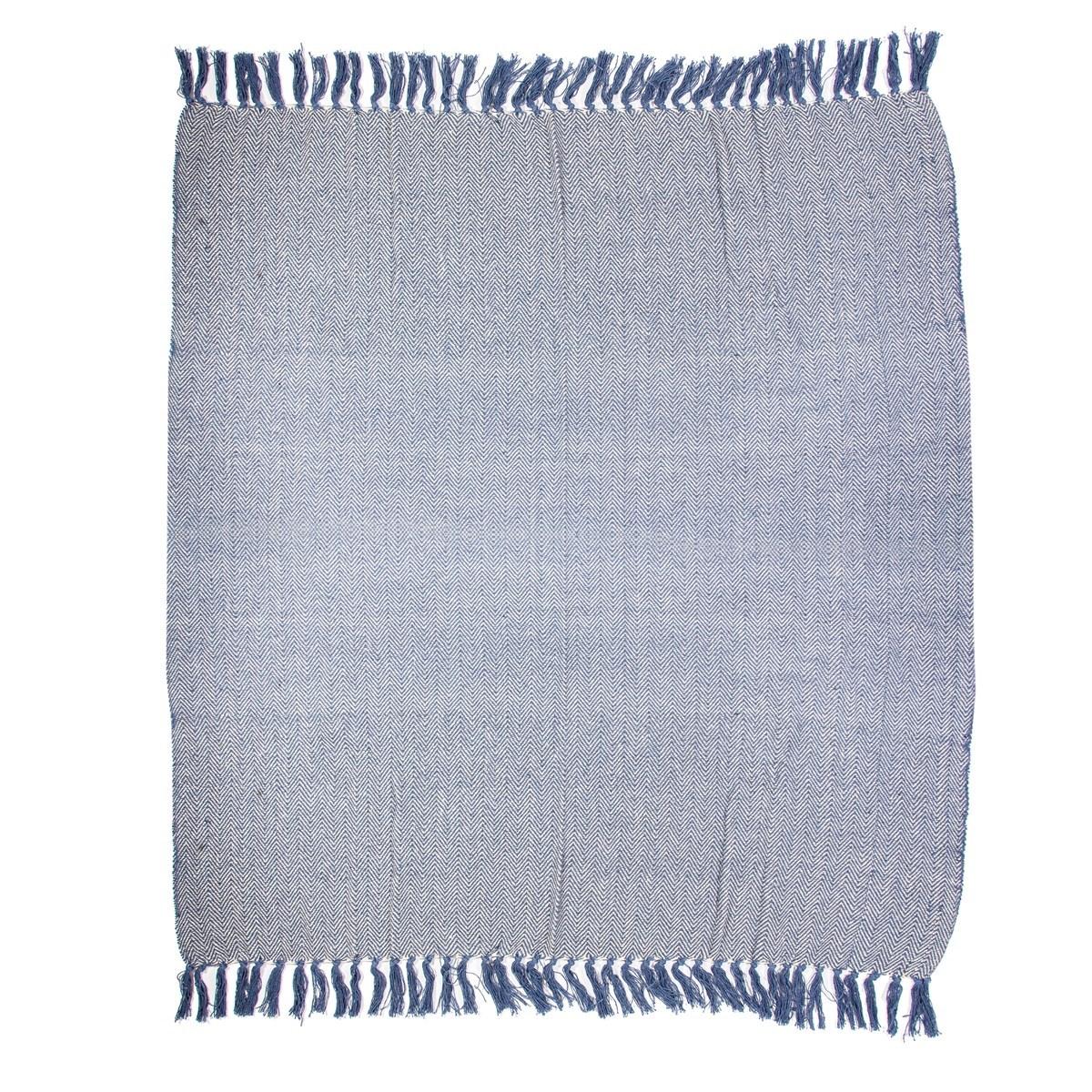 Modrý bavlněný pléd Herringbone 170x130 cm_1