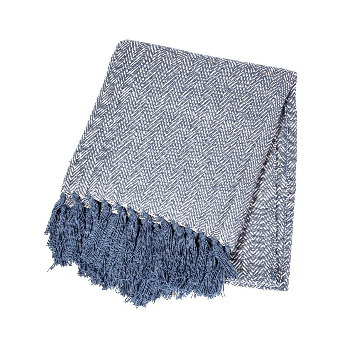 Modrý bavlněný pléd Herringbone 170x130 cm_2