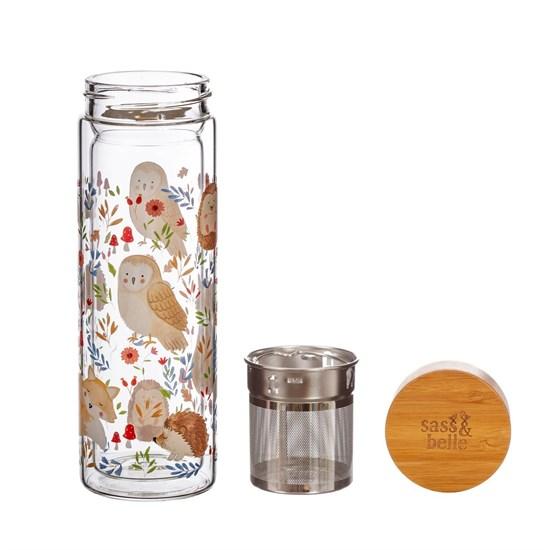 Skleněná lahev na čaj se sítkem Forest Folk 350 ml_2