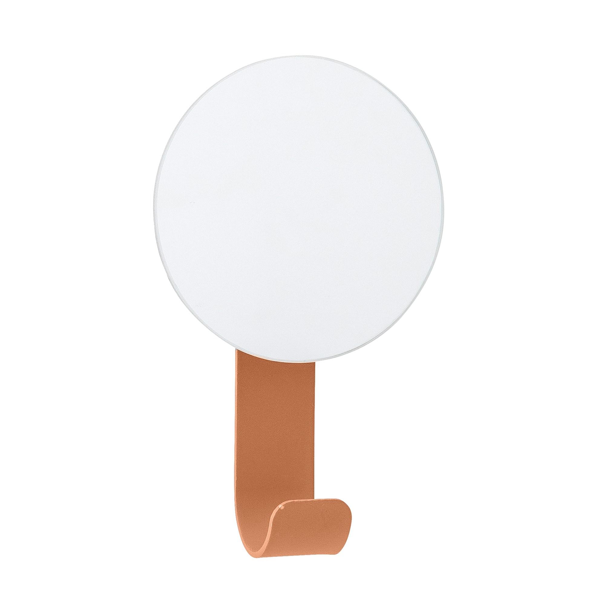 Kovový háček na zeď s malým zrcátkem V.12 cm sv. oranžová_1