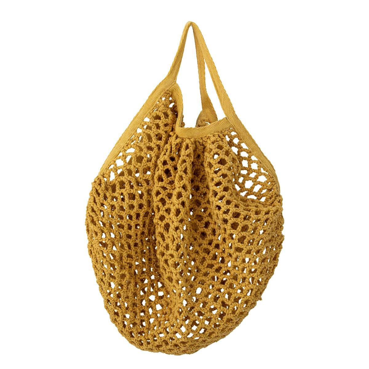 Hořčicově žlutá bavlněná síťová taška_0