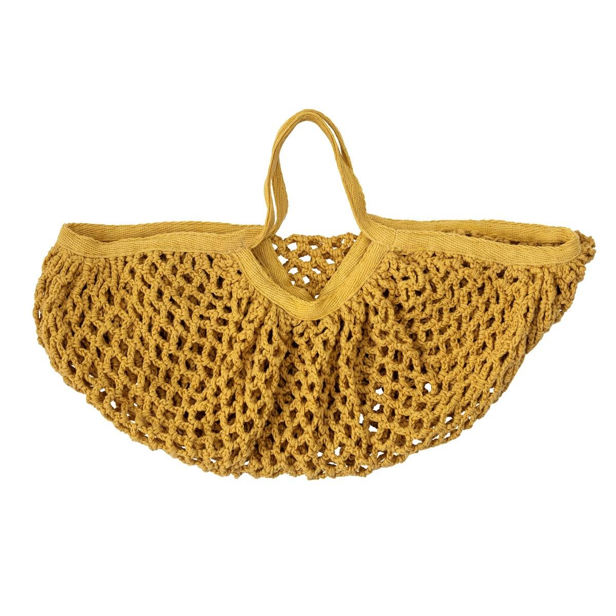 Hořčicově žlutá bavlněná síťová taška_5