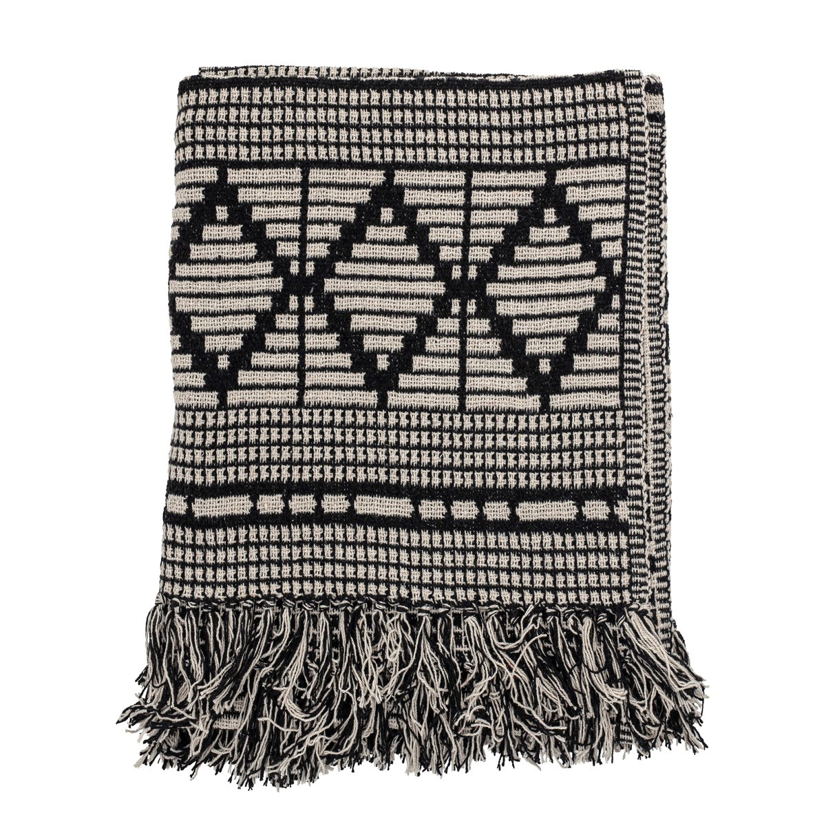 Černý pléd z recyklované bavlny 160x130 cm_0