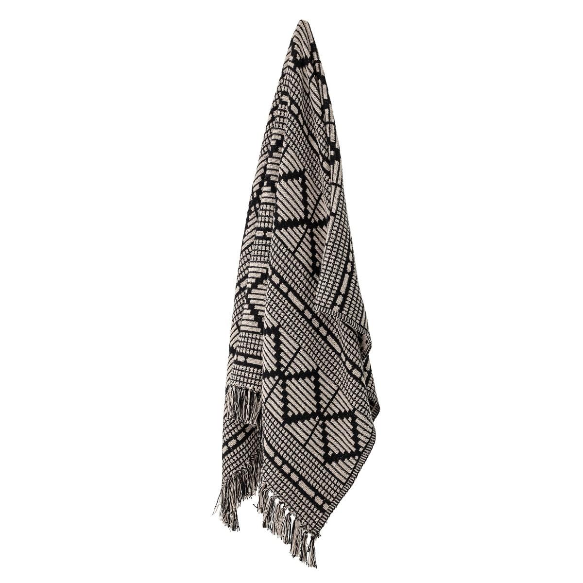 Černý pléd z recyklované bavlny 160x130 cm_1