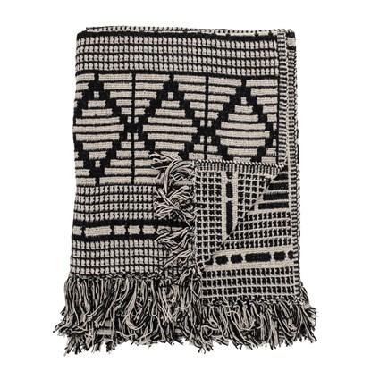 Černý pléd z recyklované bavlny 160x130 cm_4