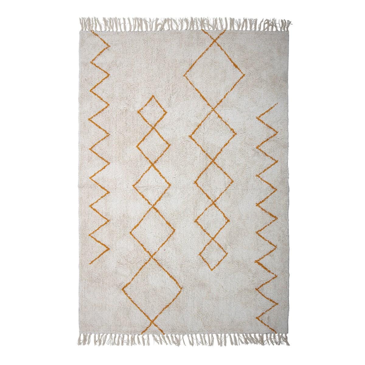 Krémový koberec se žlutým dekorem a třásněmi 200x140 cm_0