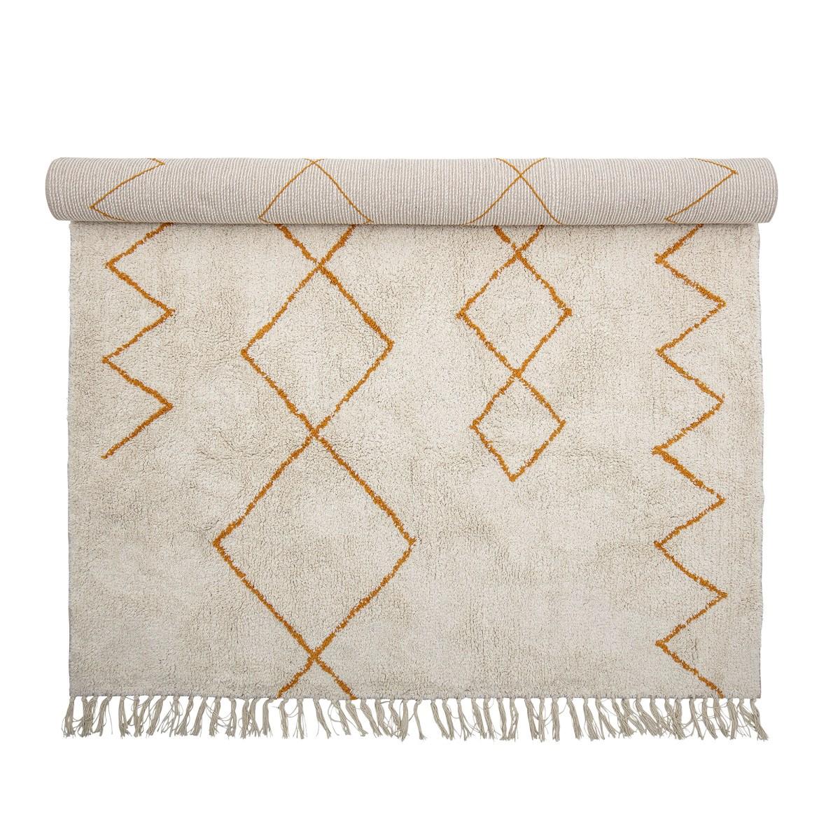 Krémový koberec se žlutým dekorem a třásněmi 200x140 cm_2