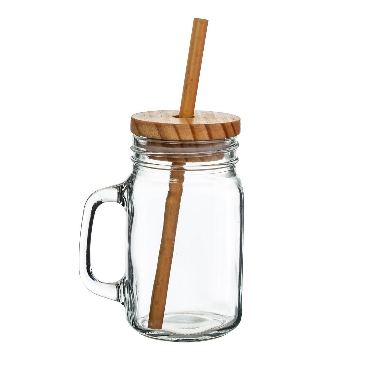 Skleněný hrnek s dřevěným víčkem a bambusovým brčkem_1