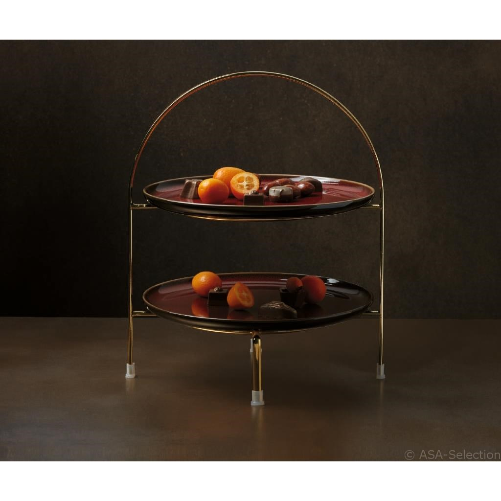 Etažér 2 patrový pro dezert. talíř Á TABLE d´Or zlatý_0