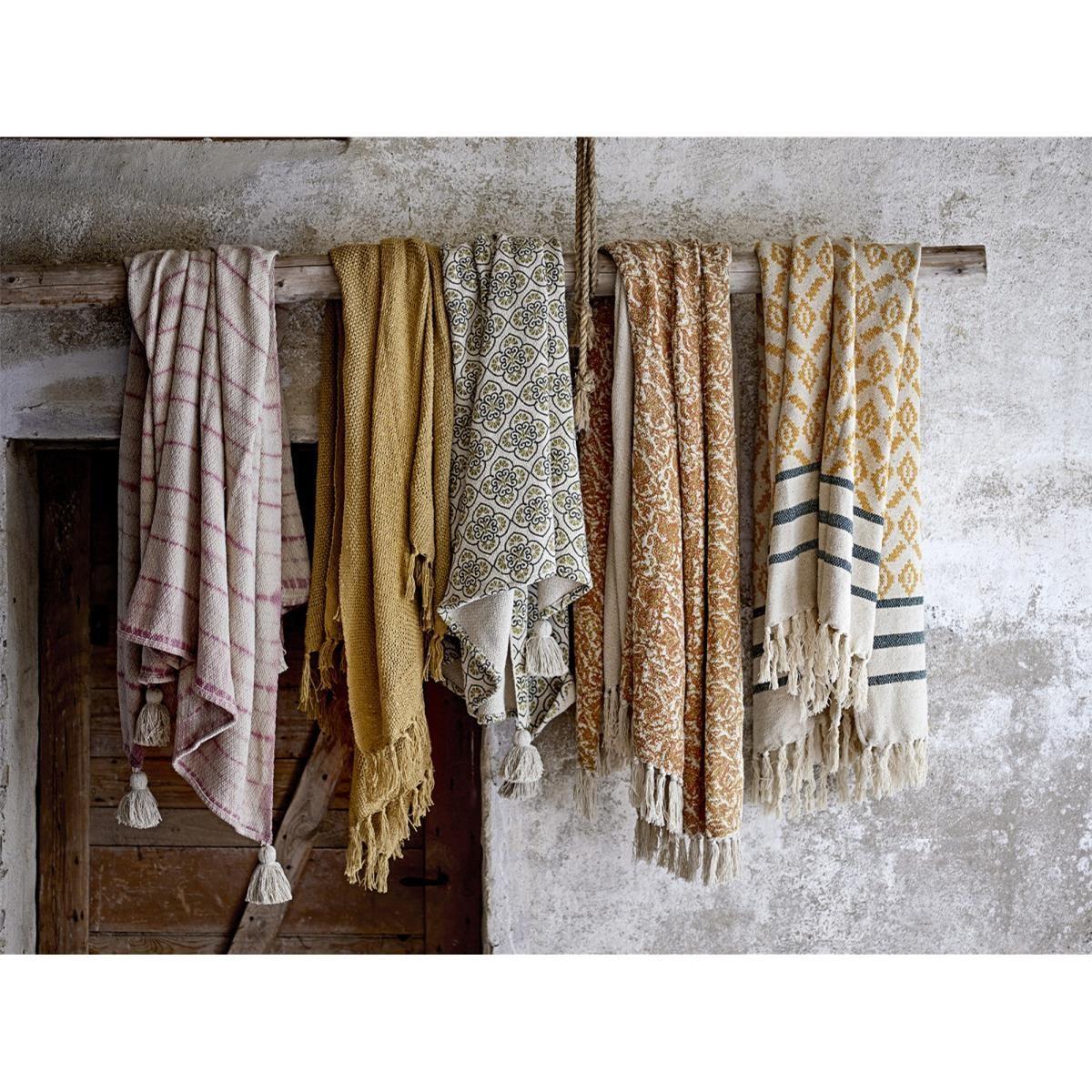 Pléd s třásněmi Frederika z recyklované bavlny 160x130 cm_3