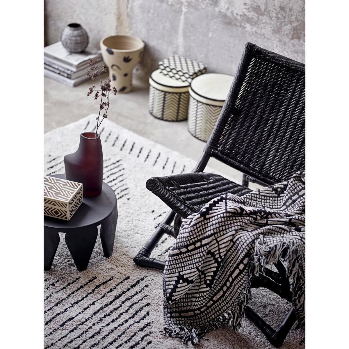 Černý pléd z recyklované bavlny 160x130 cm_3