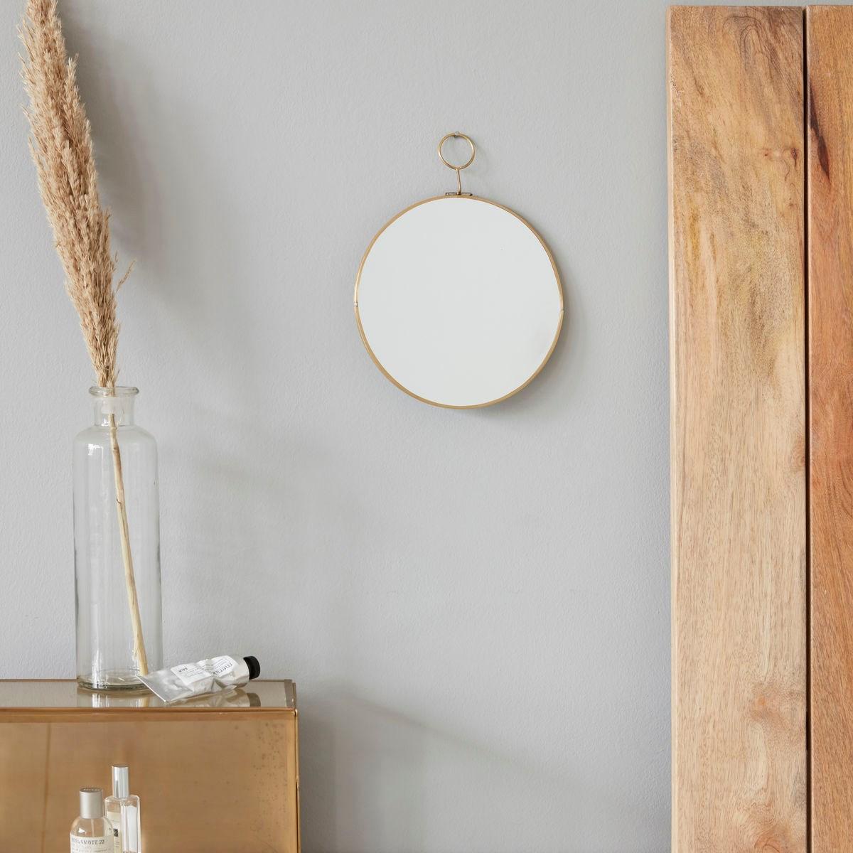 Kulaté zrcadlo LOOP 28 cm mosazné_1