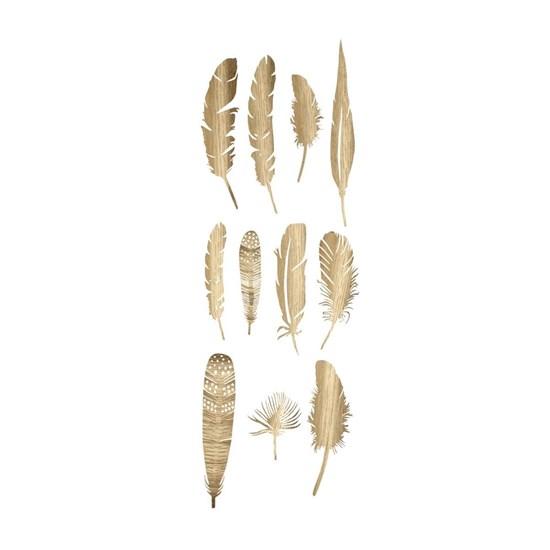 Dekorace pírka Feather SET/22ks zlatá_1