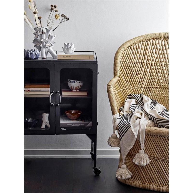 Obrázek z Pléd Boran se střapci 150x125 cm černo krémový