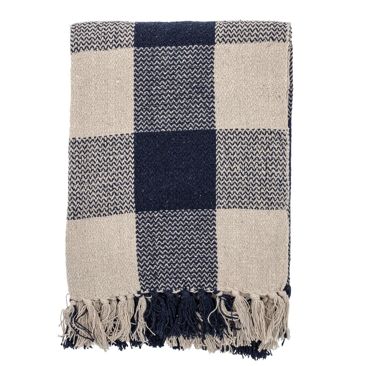 Pléd z recyklované bavlny Faya 150x125 cm modro béžový_0